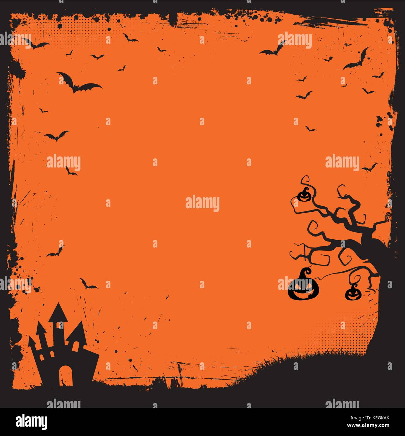 the square halloween banner template with pumpkin scary house and