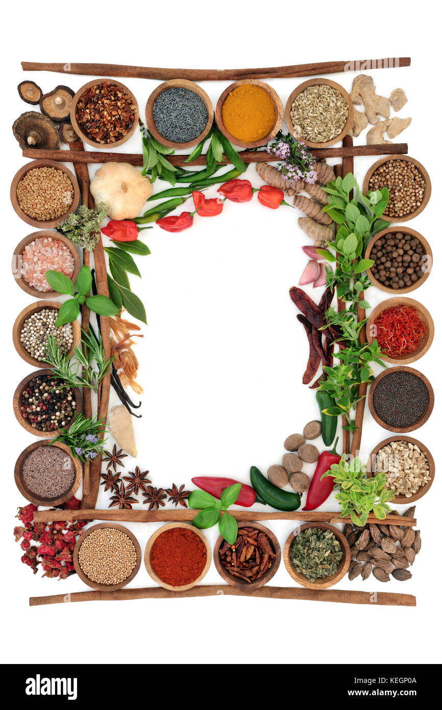Abstract herb and spice border with fresh and dried herbs and spices ...