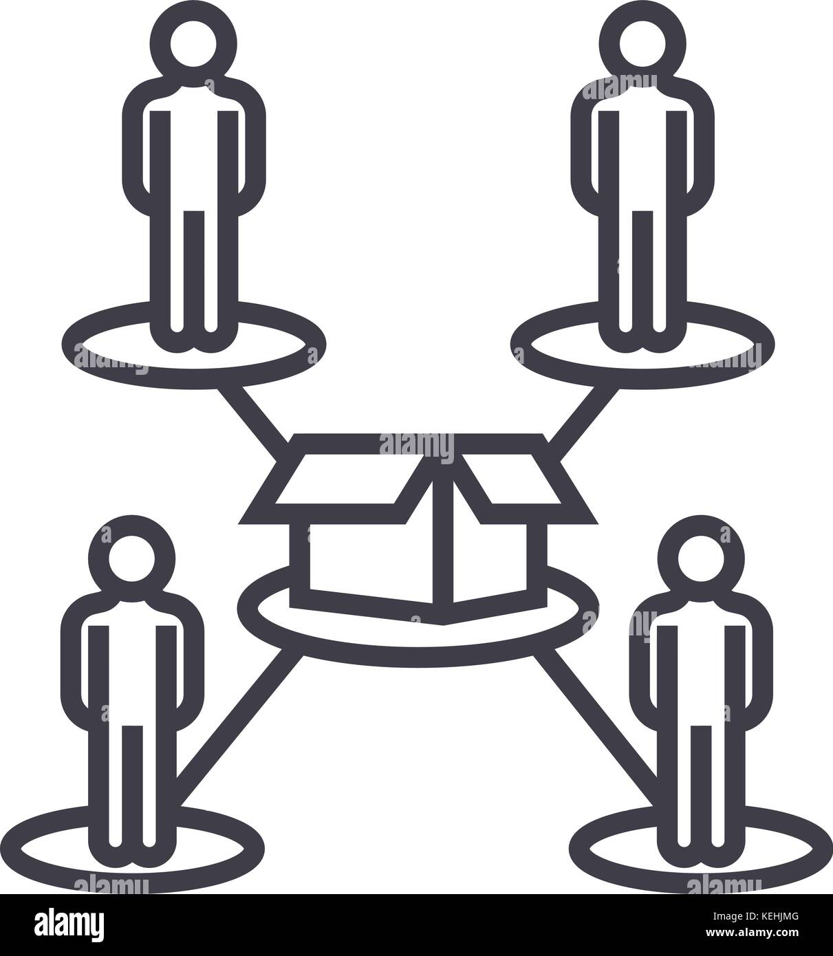 crowdfunding people network vector line icon sign illustration on