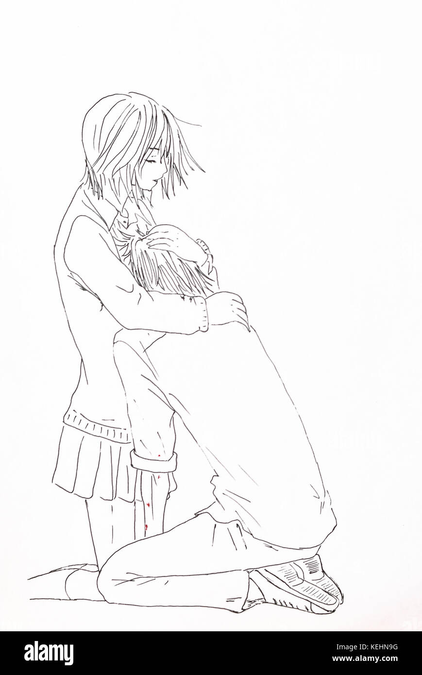 Drawing in the style of anime image enamored girl and the guy in the picture in the style of japanese anime