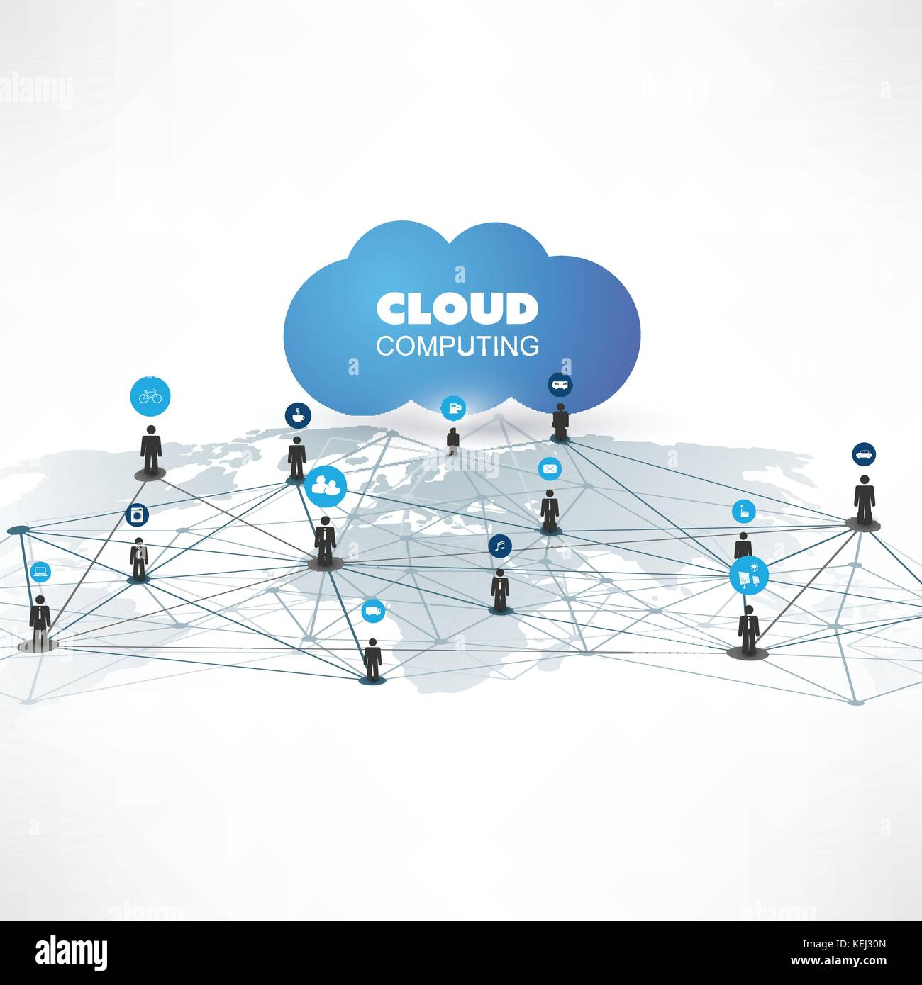 cloud computing and networks design concept with icons digital