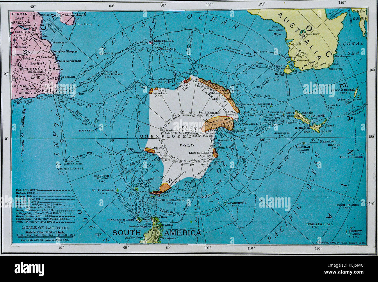 South Pole World Map.Mcnally Antique Map 1911 South Pole Antarctica Stock Photo