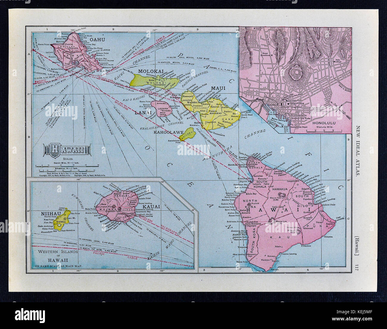Hawaii Map Maui.1911 Mcnally Map Hawaii Islands Oahu Honolulu Maui Stock Photo