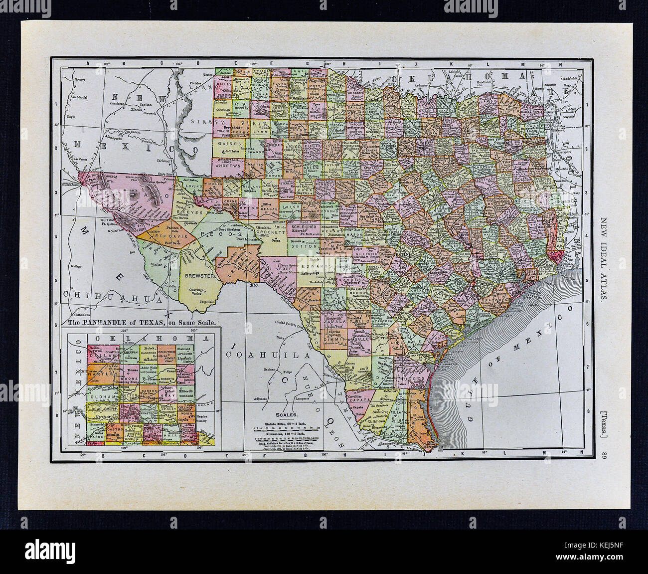 1911 Mcnally Map Texas Austin San Antonio Dallas Houston Fort