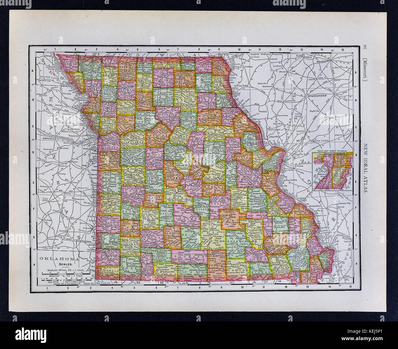 1911 McNally Map - Missouri - Jefferson City Kansas City Springfield ...