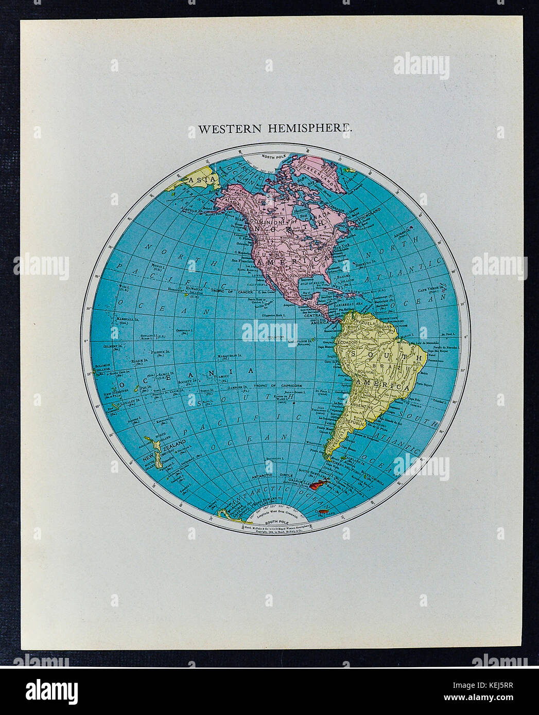 Mcnally Antique World Western Hemisphere Map 1911 Showing North America And South America Stock Image