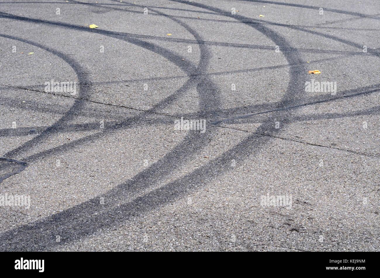curved skid marks on tarmac stock photo 163901296 alamy