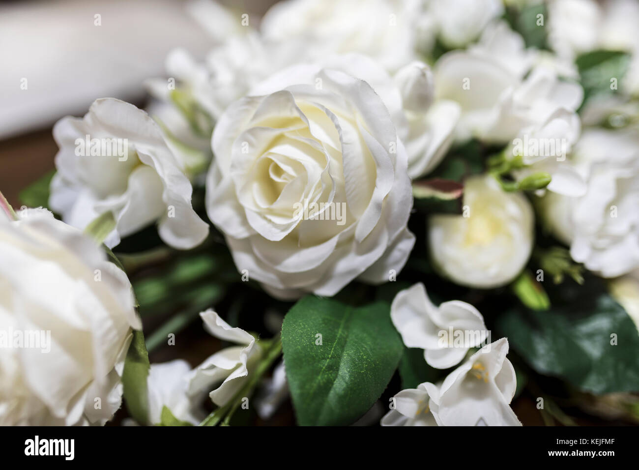 White Roses Wedding Bouquet Of Flowers Shot Close Up With A Shallow