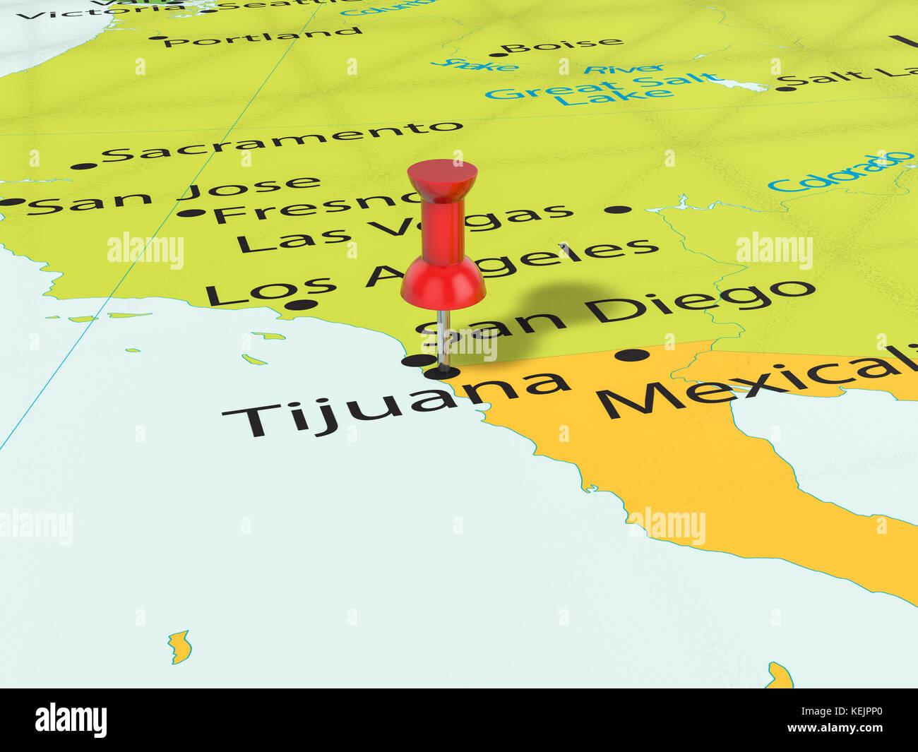Tijuana city stock photos tijuana city stock images alamy pushpin on tijuana map background 3d illustration stock image sciox Images