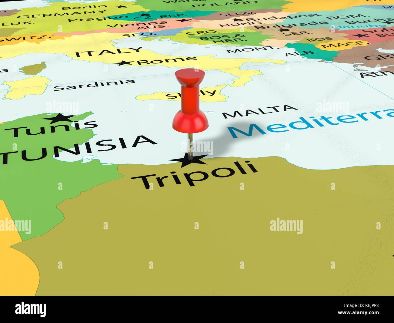 Pushpin on Tripoli map background 3d illustration Stock Photo