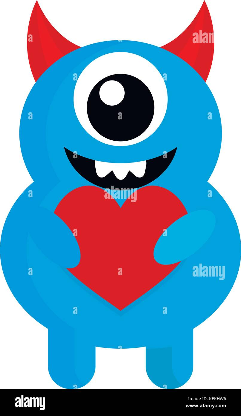 cute monster with red heart love. Monster cartoon, vector cute alien Stock Vector Art ...