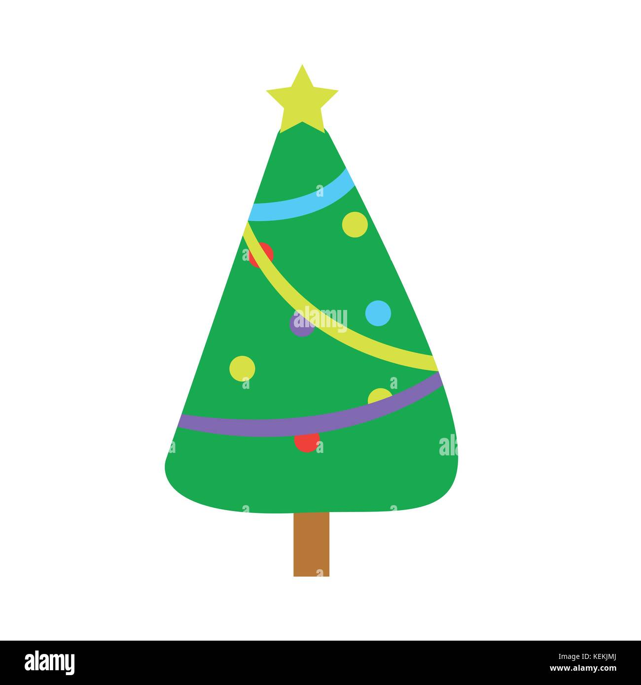 fully decorated cartoon christmas tree