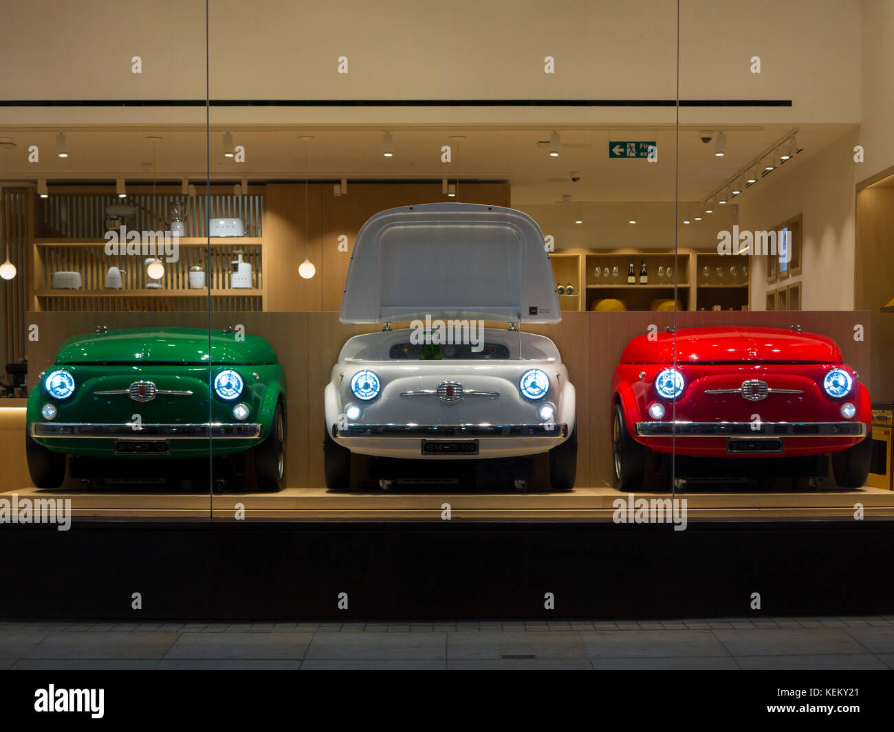 Three Fiat Fridges In A SMEG Showroom In London Stock Photo - Fiat dealers in london