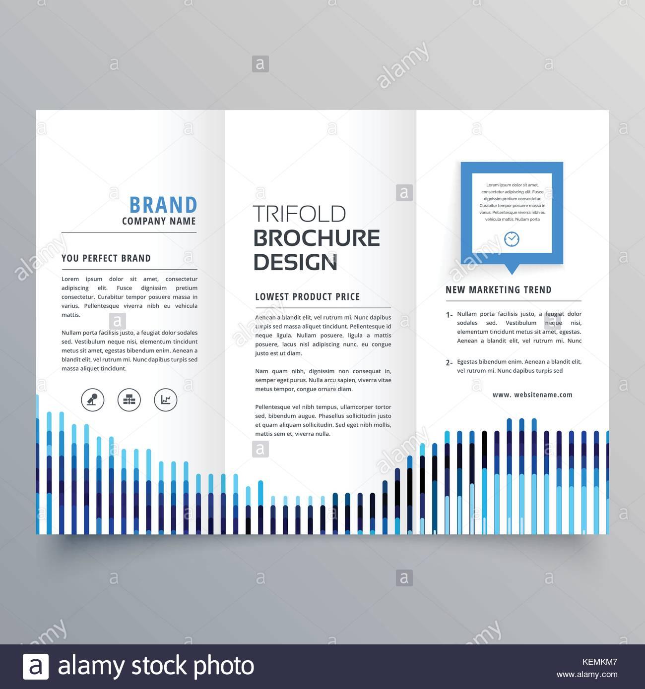 Creative Blue Trifold Business Brochure Design Template Stock - Tri fold business brochure template