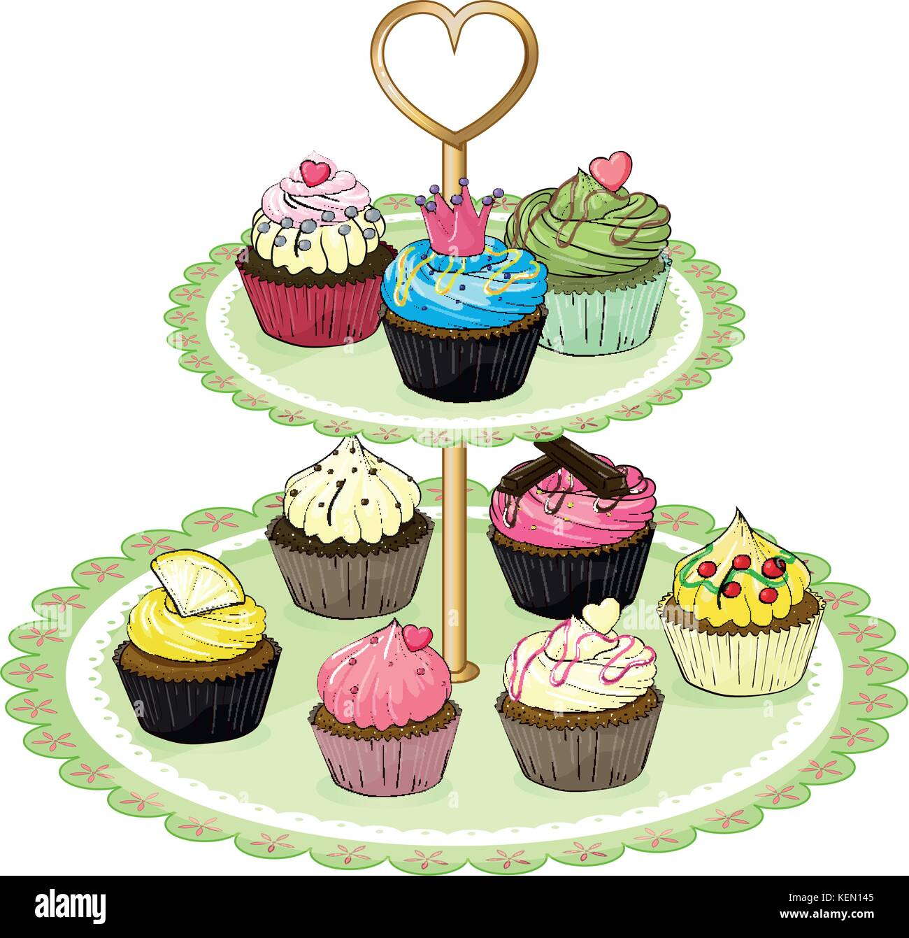 White Background Without Cupcake Wiring Diagrams Flickerledcircuit Illustration Of A Tray With Cupcakes On Rh Alamy Com Birthday