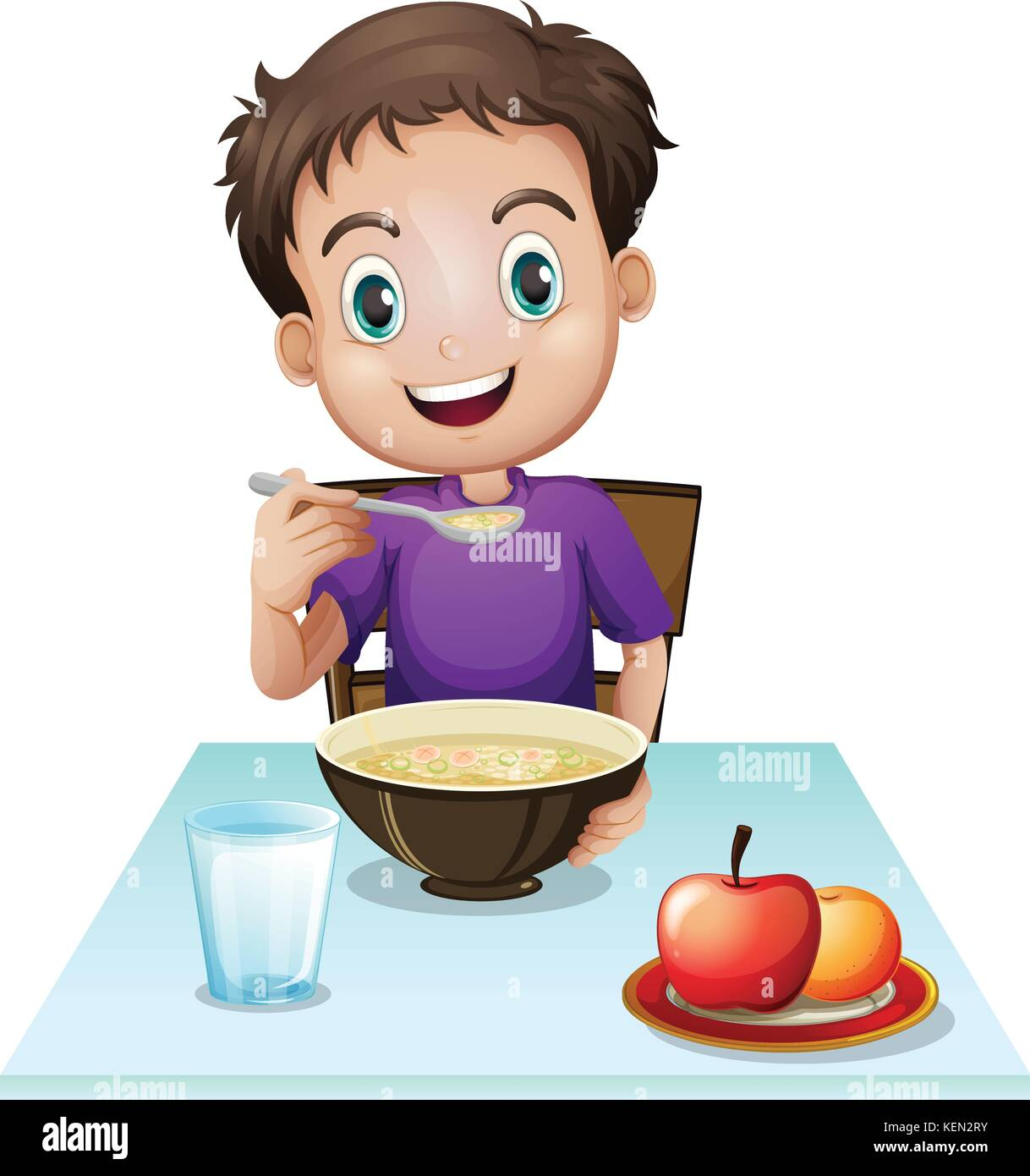 illustration of a boy eating his breakfast at the table on a white