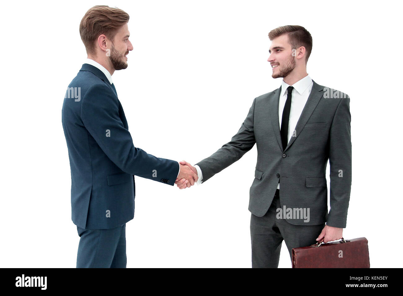 Two Businessmen Making Agreement Their Colleagues Standing Near