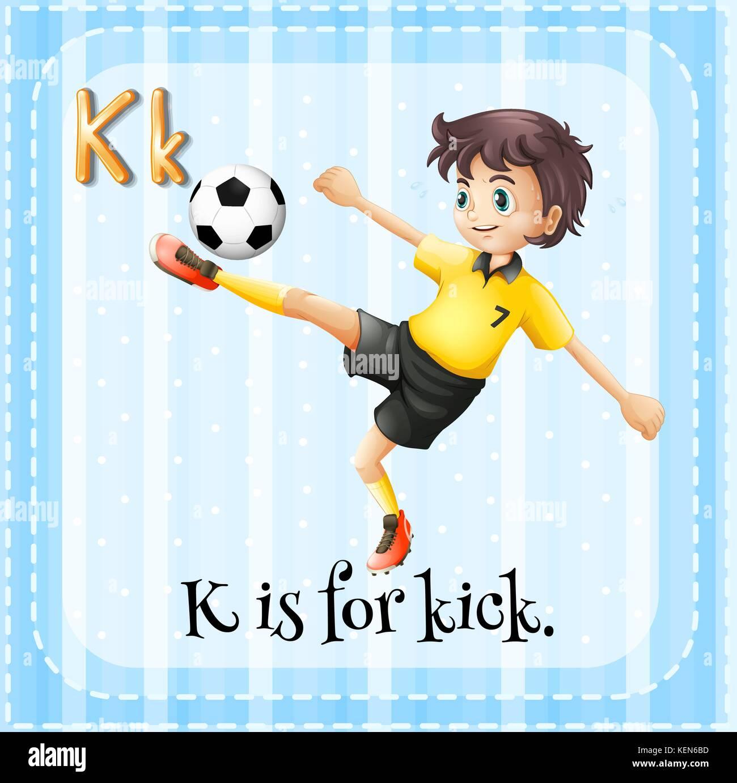 Illustration Of A Letter K Is For Kick