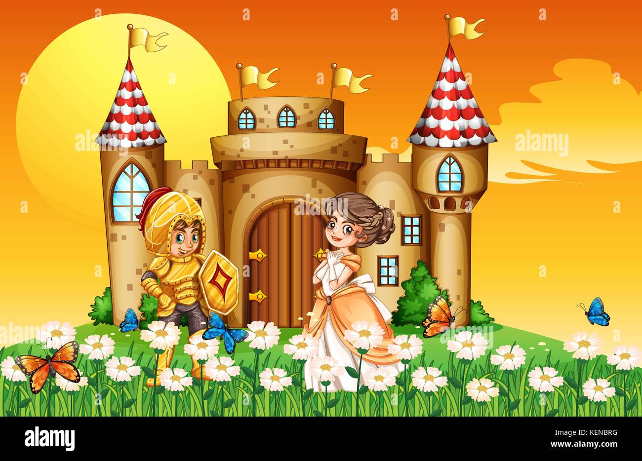 a princess and a knight outside the castle stock vector art