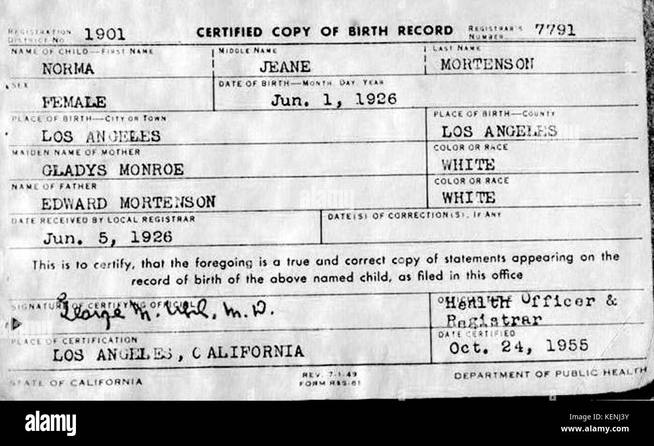 Birth certificate black and white stock photos images alamy marilyn monroe birth certificate stock image aiddatafo Choice Image