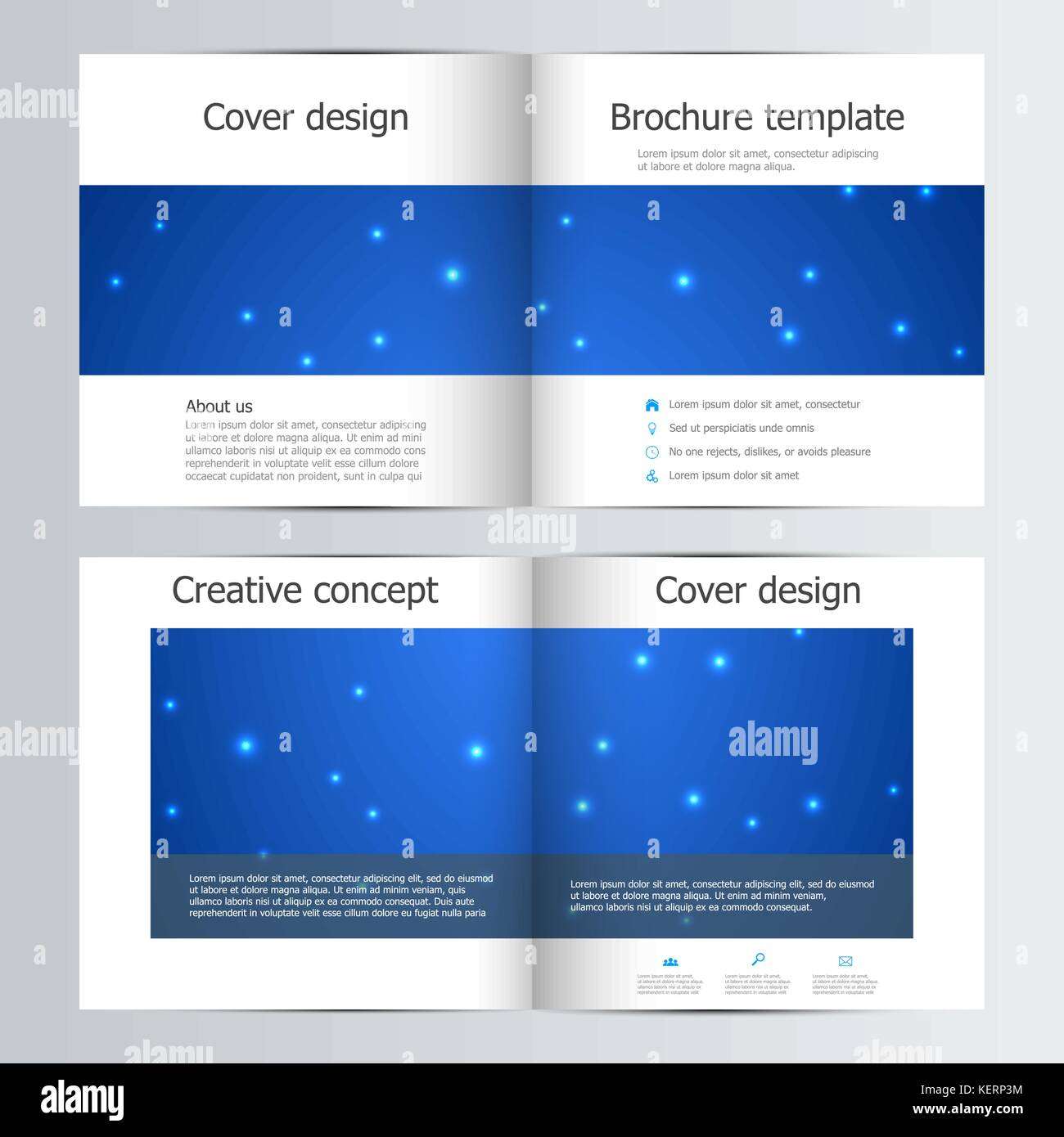 bi fold brochure template with abstract background vector stock