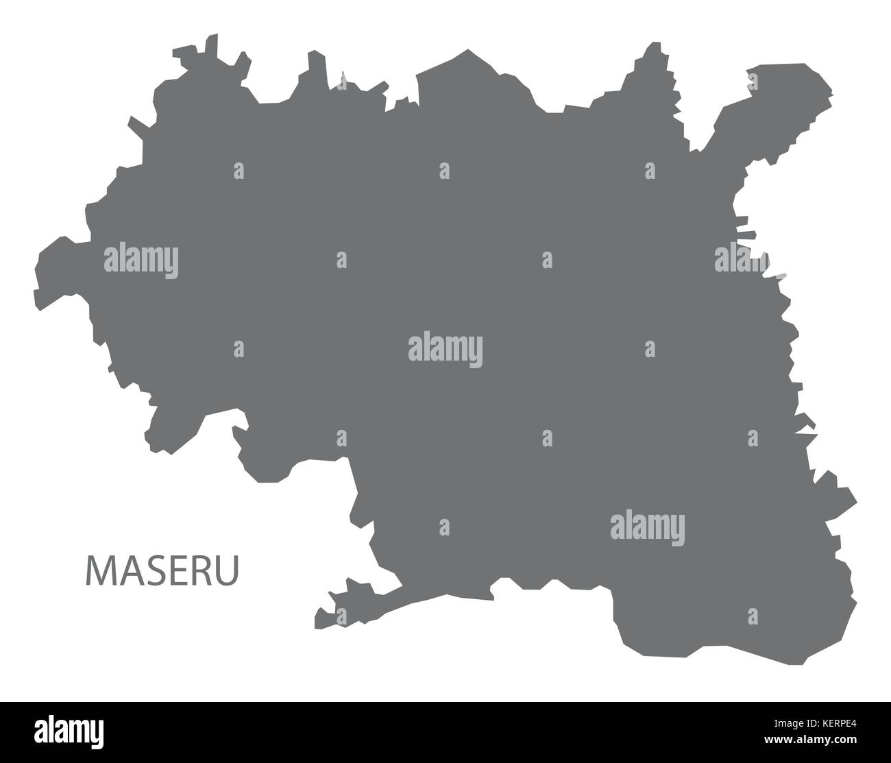 Maseru district map of Lesotho grey illustration silhouette shape