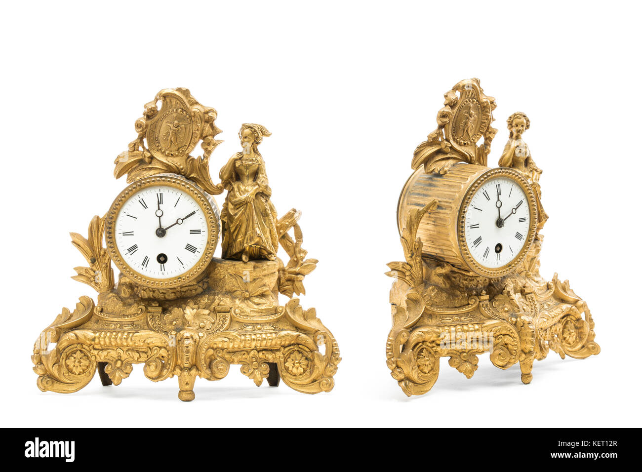 Table clocks stock photos table clocks stock images alamy antique gold colored table clocks on the white background stock image gamestrikefo Gallery