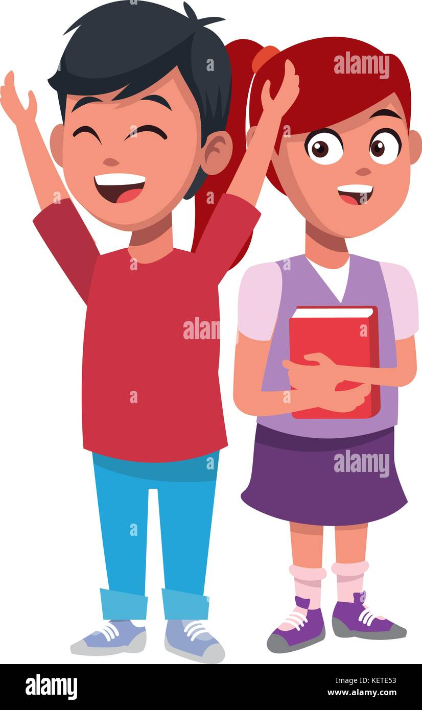 School Kids Friends Cartoon Stock Vector Art Illustration Vector