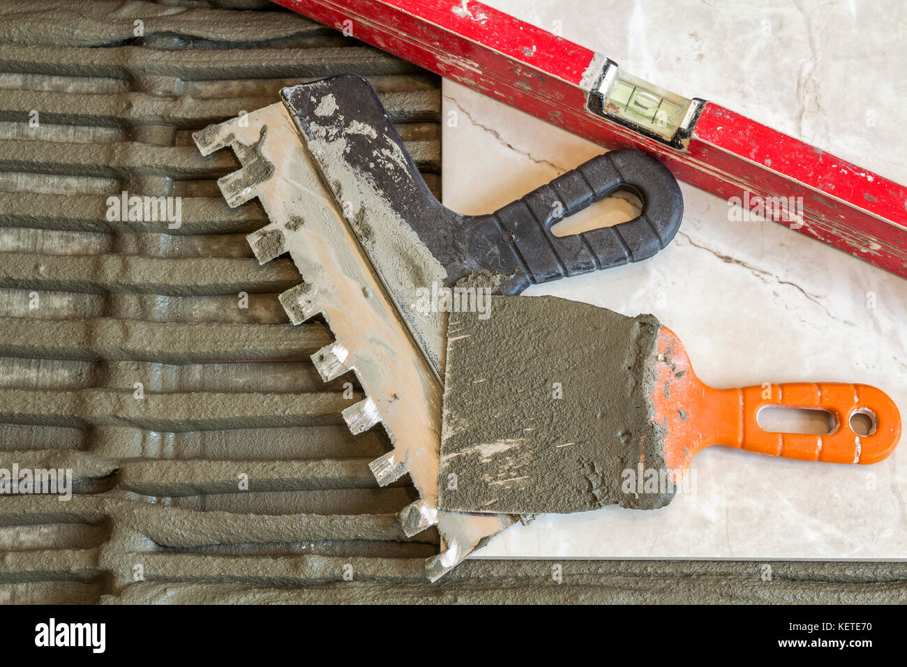 Ceramic Tiles And Tools For Tiler Floor Tiles Installation Home