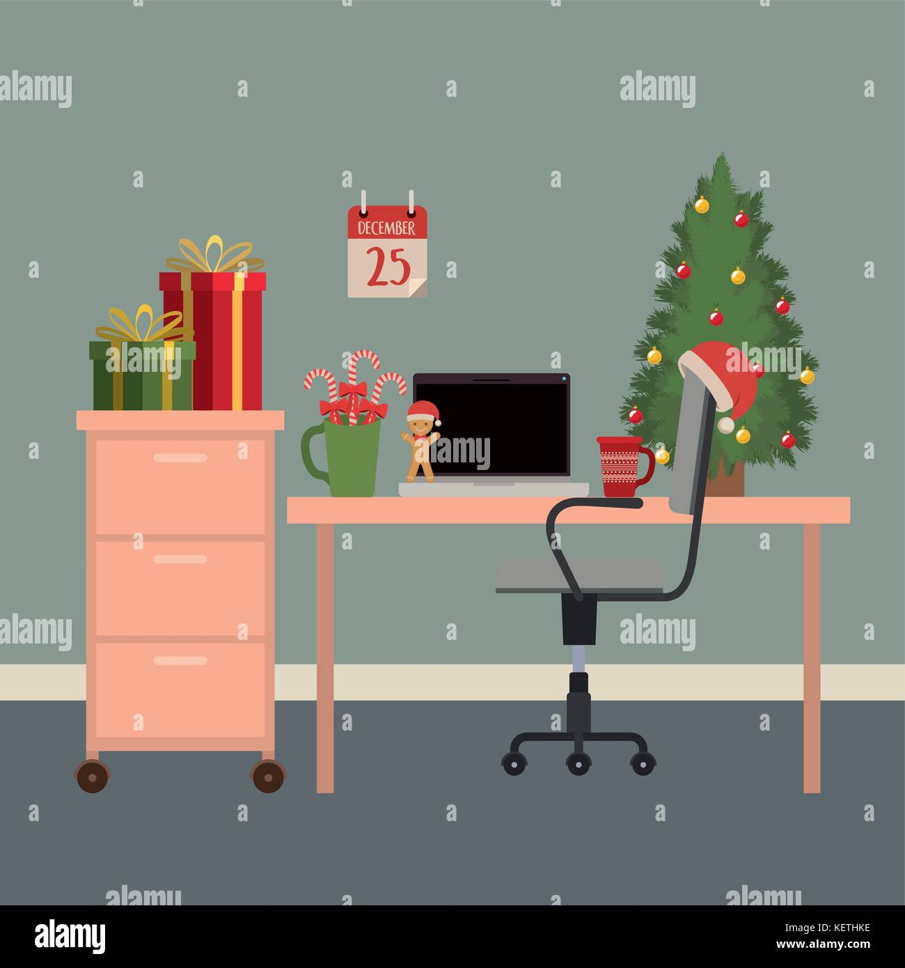 christmas office workplace scene with christmas tree and gifts and ...