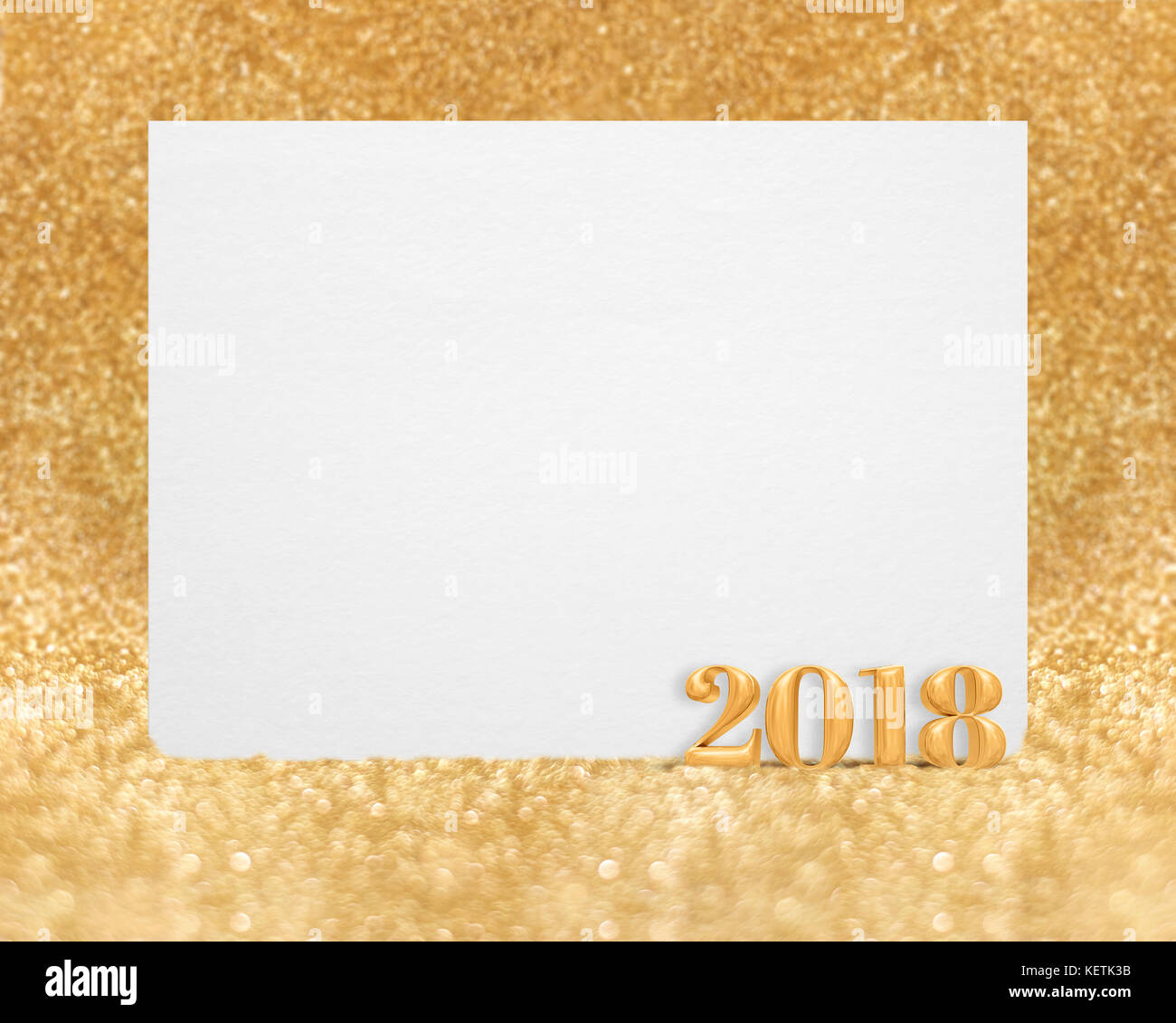 Gold color new year 2018 3d rendering with blank white greeting gold color new year 2018 3d rendering with blank white greeting card in golend sparkling glitter studio room bokehmock up template for display of m4hsunfo