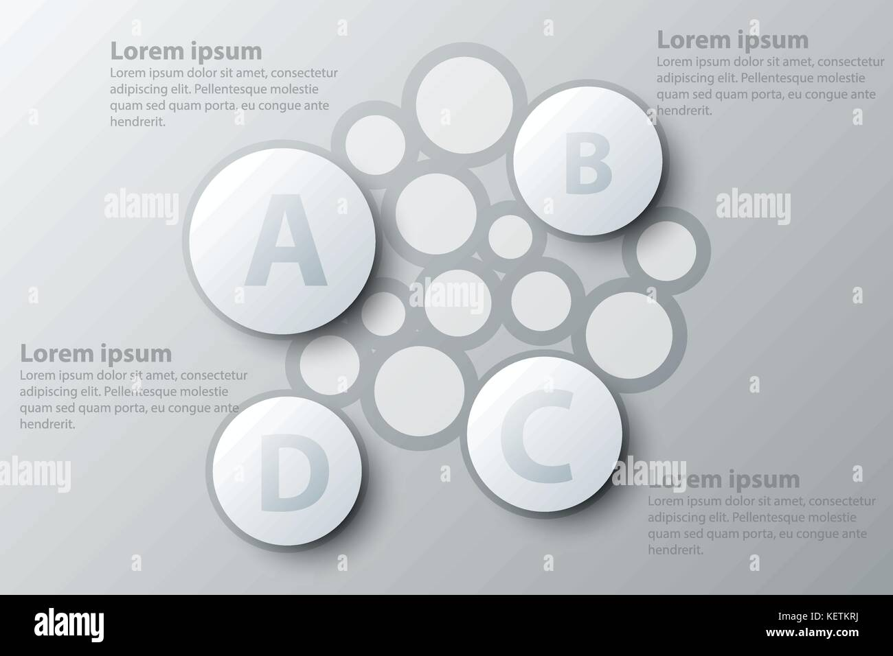 four topics simple white circle d paper for website presentation  four topics simple white circle 3d paper for website presentation cover poster vector design infographic illustration concept