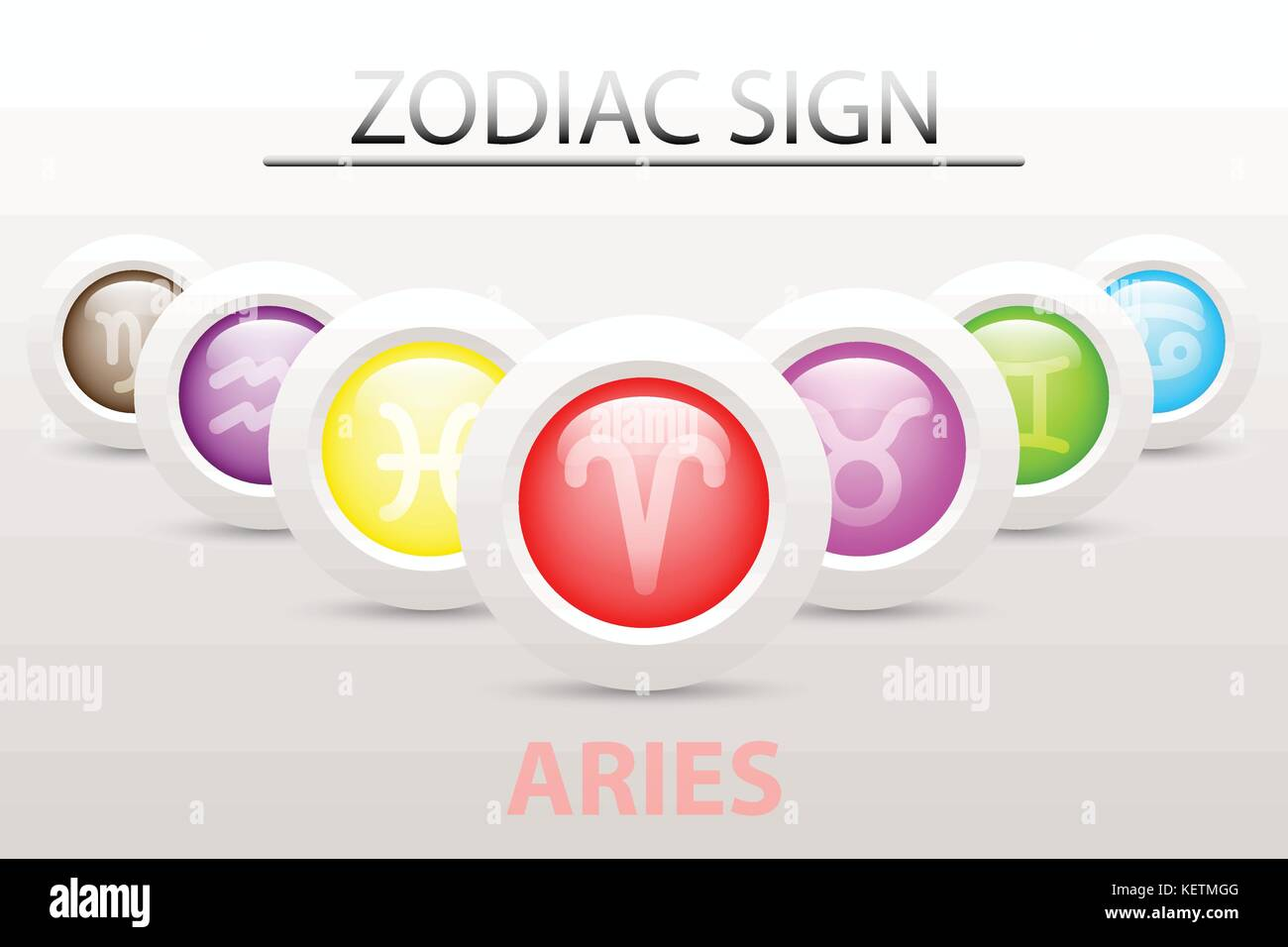 Horoscope astrology zodiac sign symbol of aries on sequence with horoscope astrology zodiac sign symbol of aries on sequence with 3d simple white button paper and shadow drop in graphic design icon vector biocorpaavc Gallery