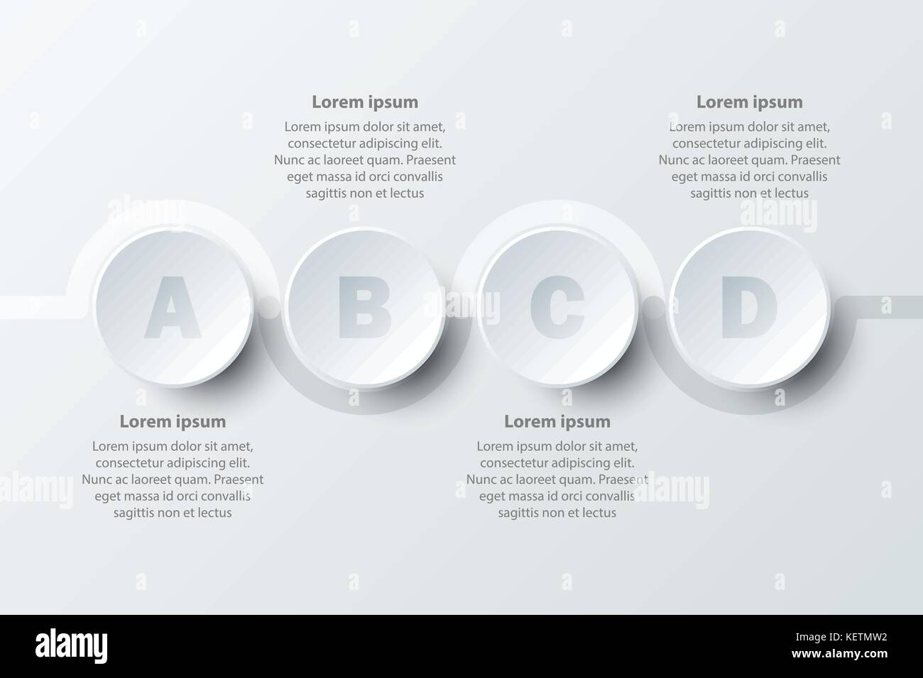 Four topics simple white paper 3d circle on sequence for website.