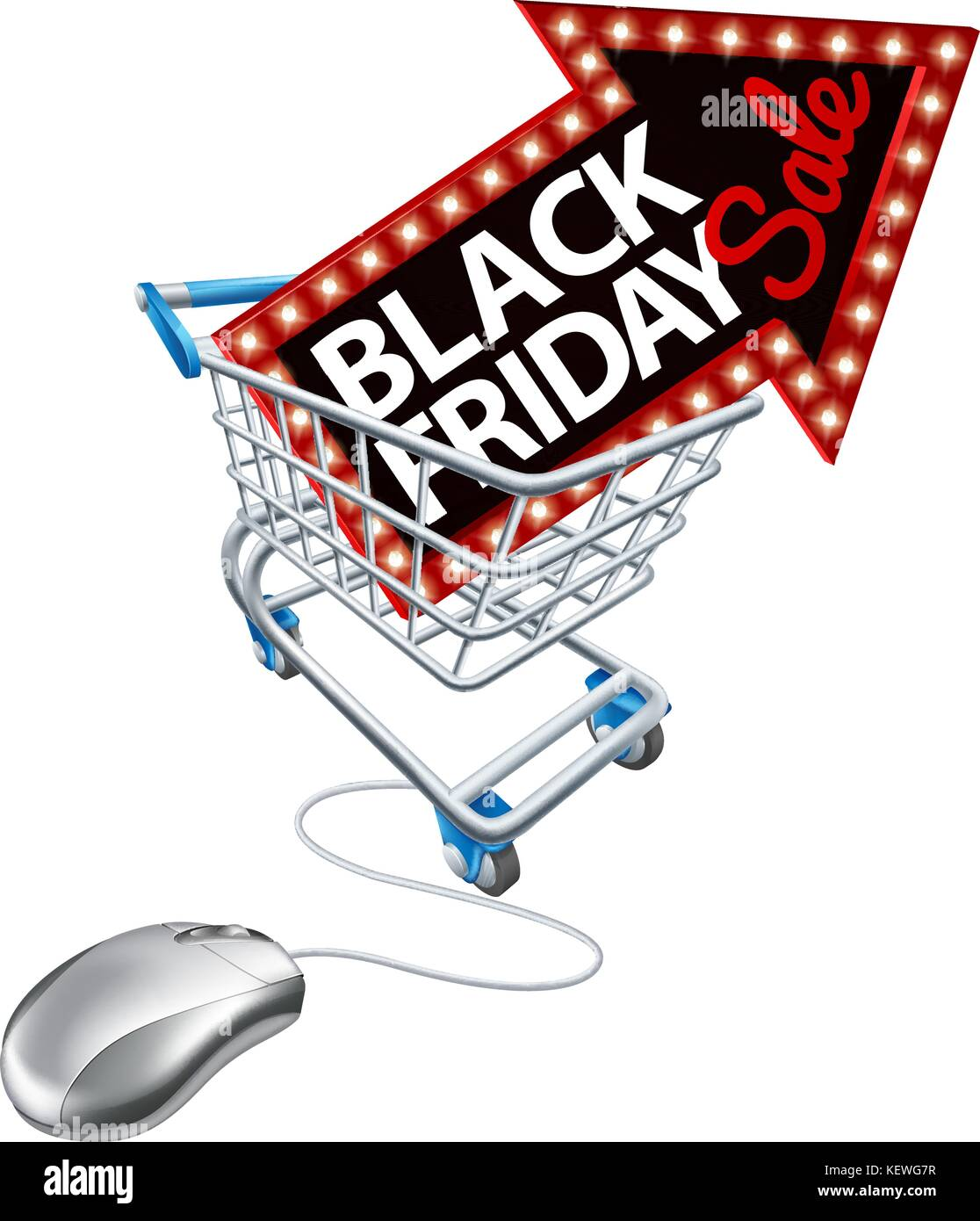 Black Friday Sale Online Shopping Trolley Mouse Stock Vector Art ...