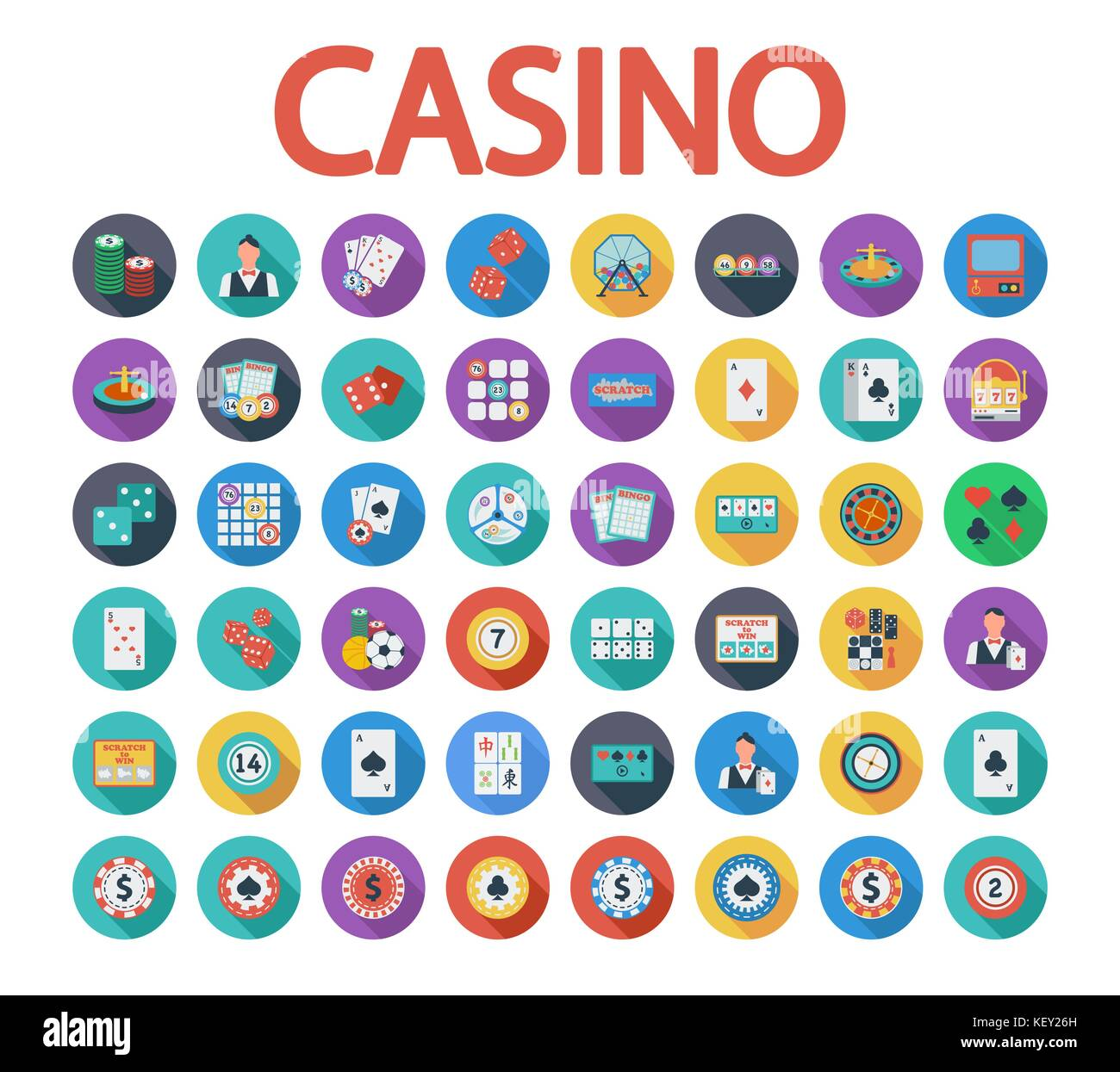 Traditional european roulette table vector illustration stock vector - Casino Icons Set Flat Vector Related Icon Set With Long Shadow For Web And Mobile