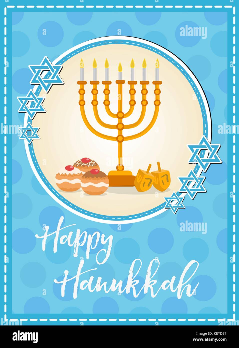 Happy hanukkah greeting card flyer poster template for your stock happy hanukkah greeting card flyer poster template for your invitation design with menorah sufganiyot bunting dreidel coins oil jewish holiday m4hsunfo