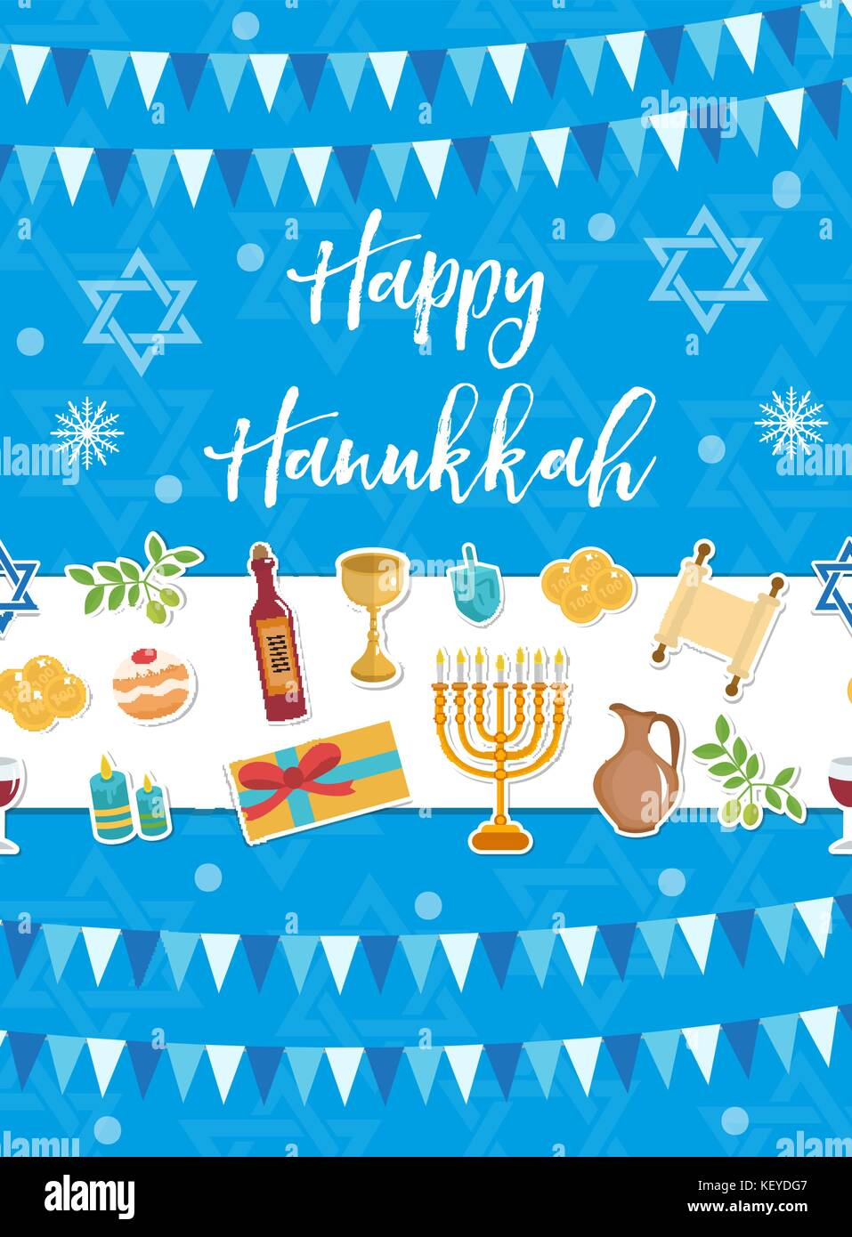 Happy Hanukkah Greeting Card Flyer Poster Template For Your Stock