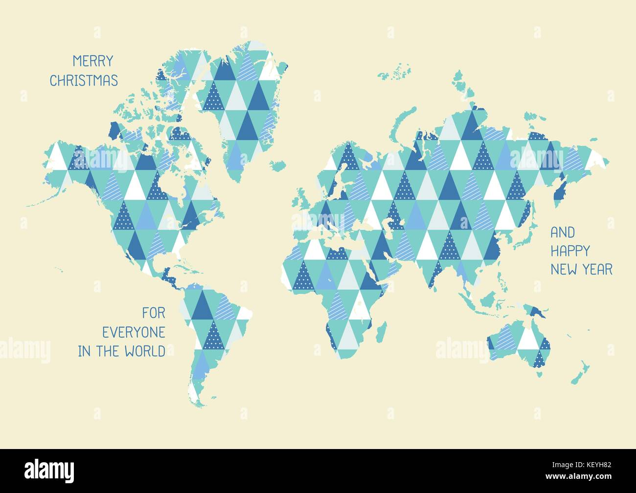 World map with triangle pattern merry christmas and happy new year world map with triangle pattern merry christmas and happy new year greeting card vector illustration gumiabroncs Image collections