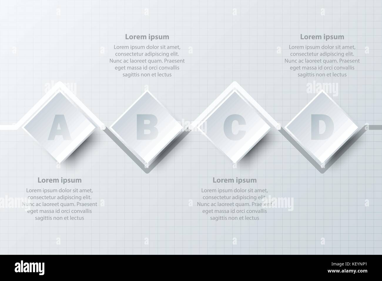Four topics simple white paper 3d circle on timeline for website.