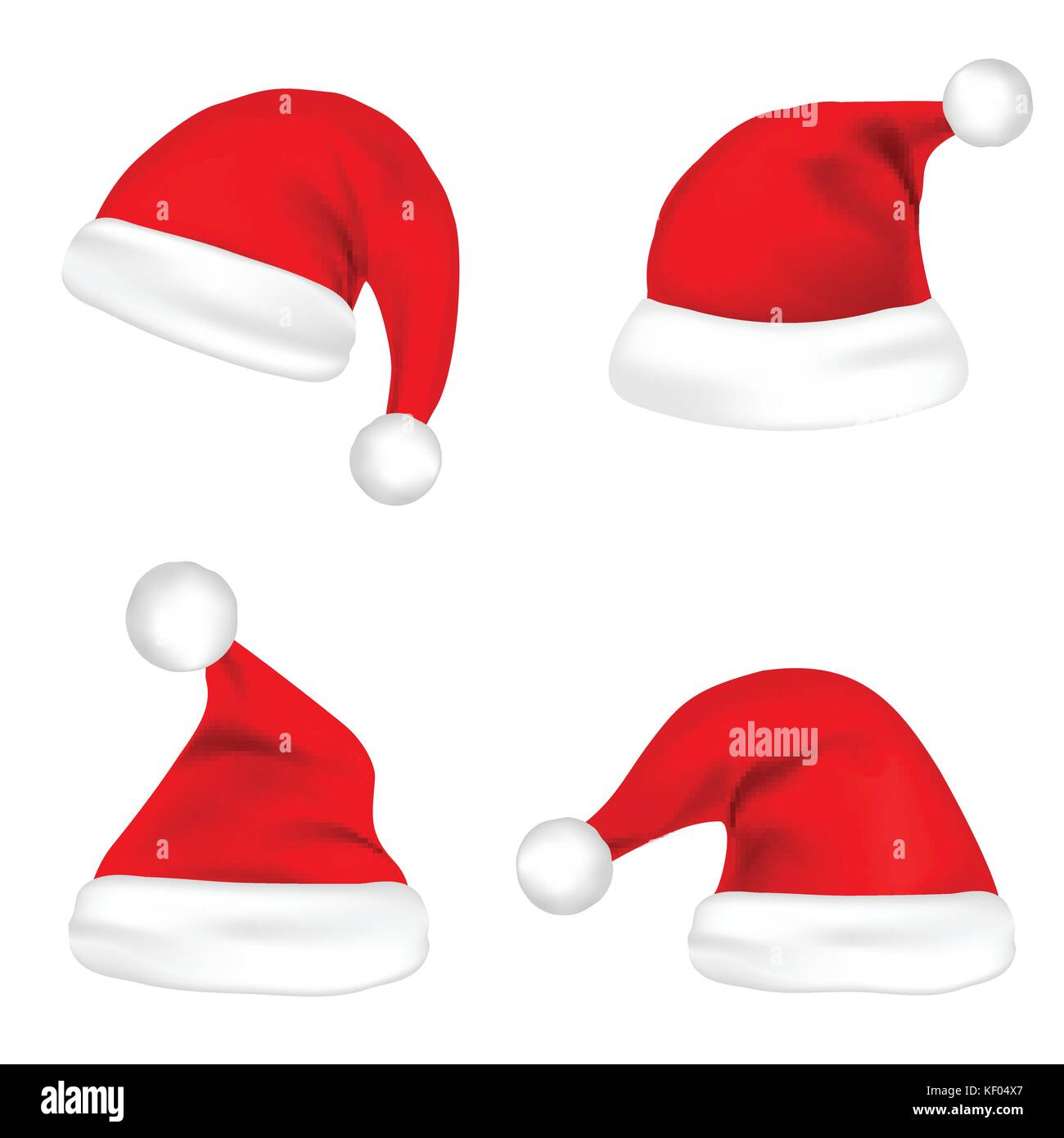 Christmas Santa Claus Hats Set. New Year Red Hat Isolated on White  Background. Vector illustration. e27218d8bd73