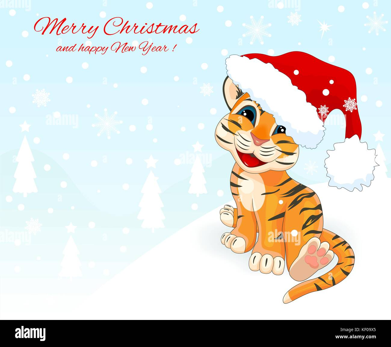 Little Tiger Cub 1 Christmas Card With A Little Tiger Cub Greeting
