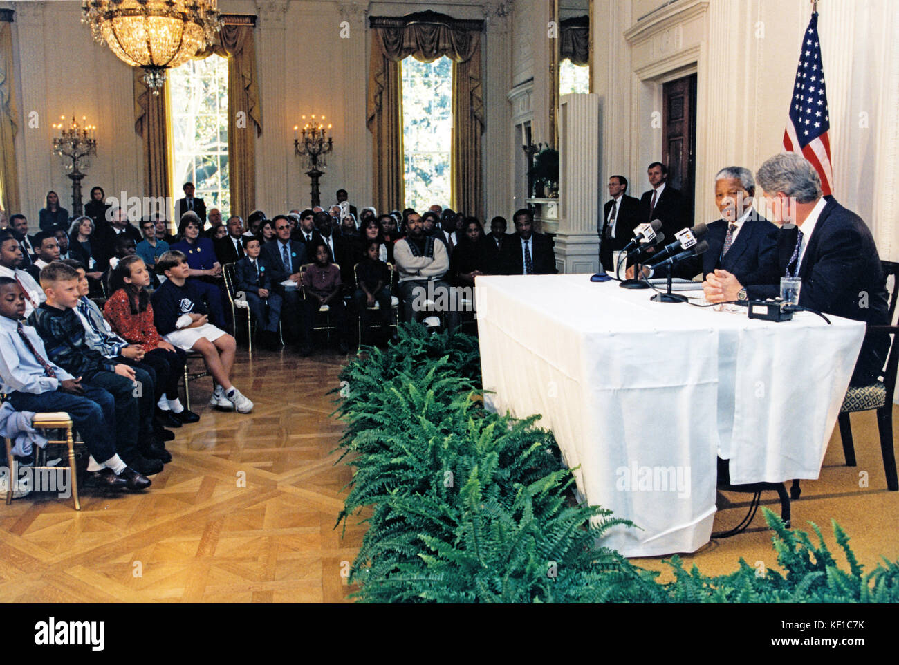 United States President Bill Clinton Records His Weekly Radio Wiring A House In South Africa Address With Nelson Mandela Of The East Room White