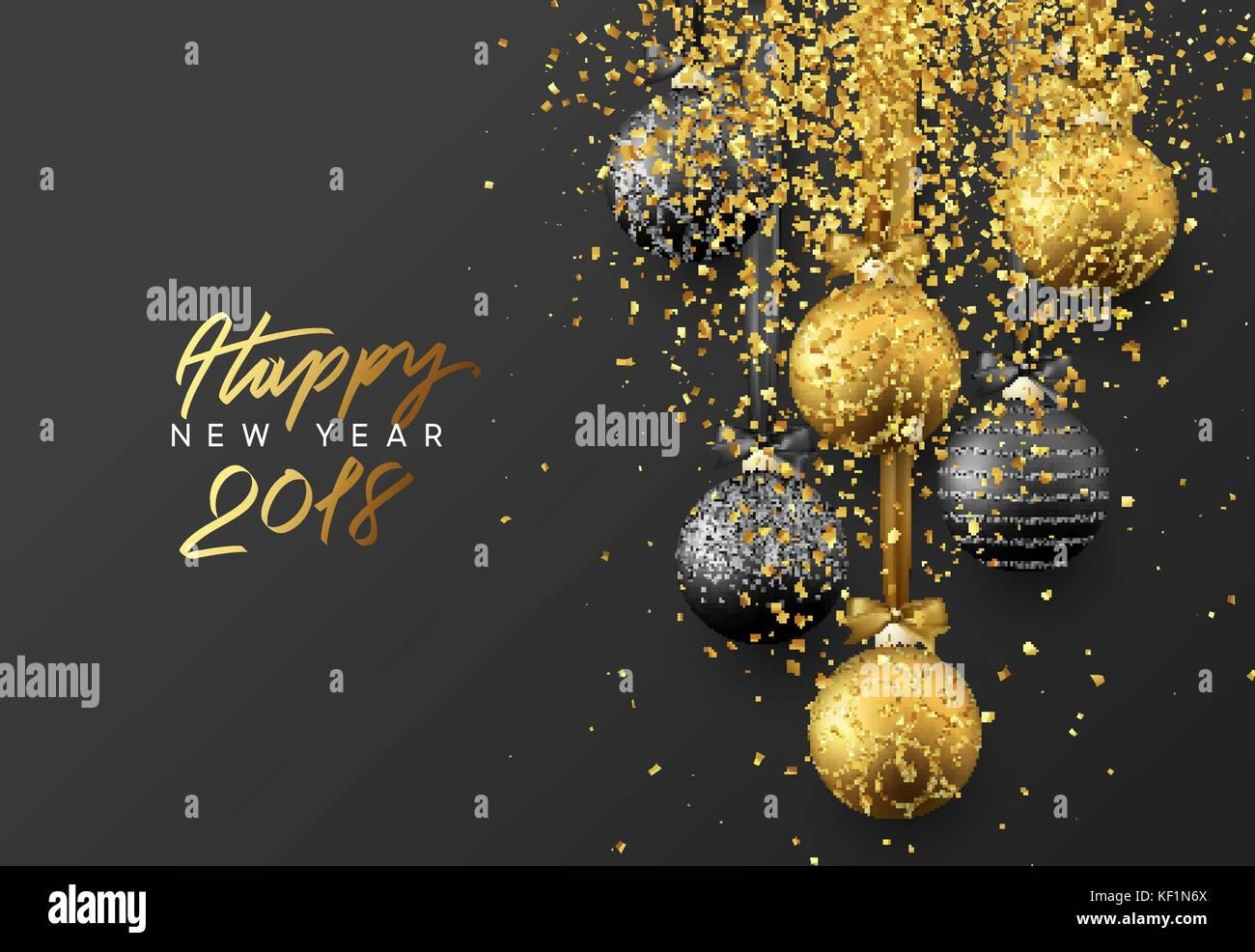 Happy New Year 2018 Christmas Greeting Card Design Of Xmas Balls