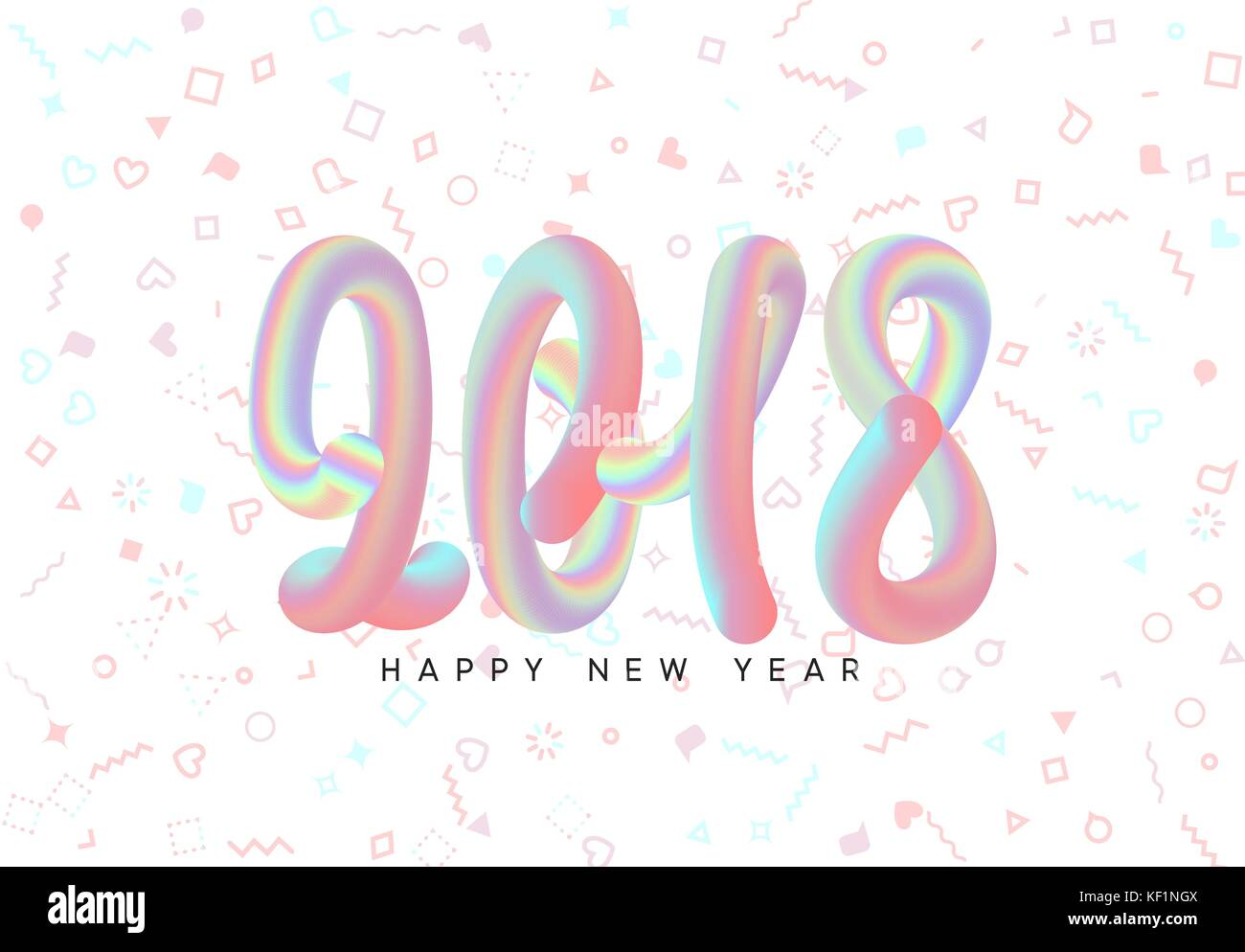 new year 2018 abstract liquid blend design hipster background with geometric colored pattern