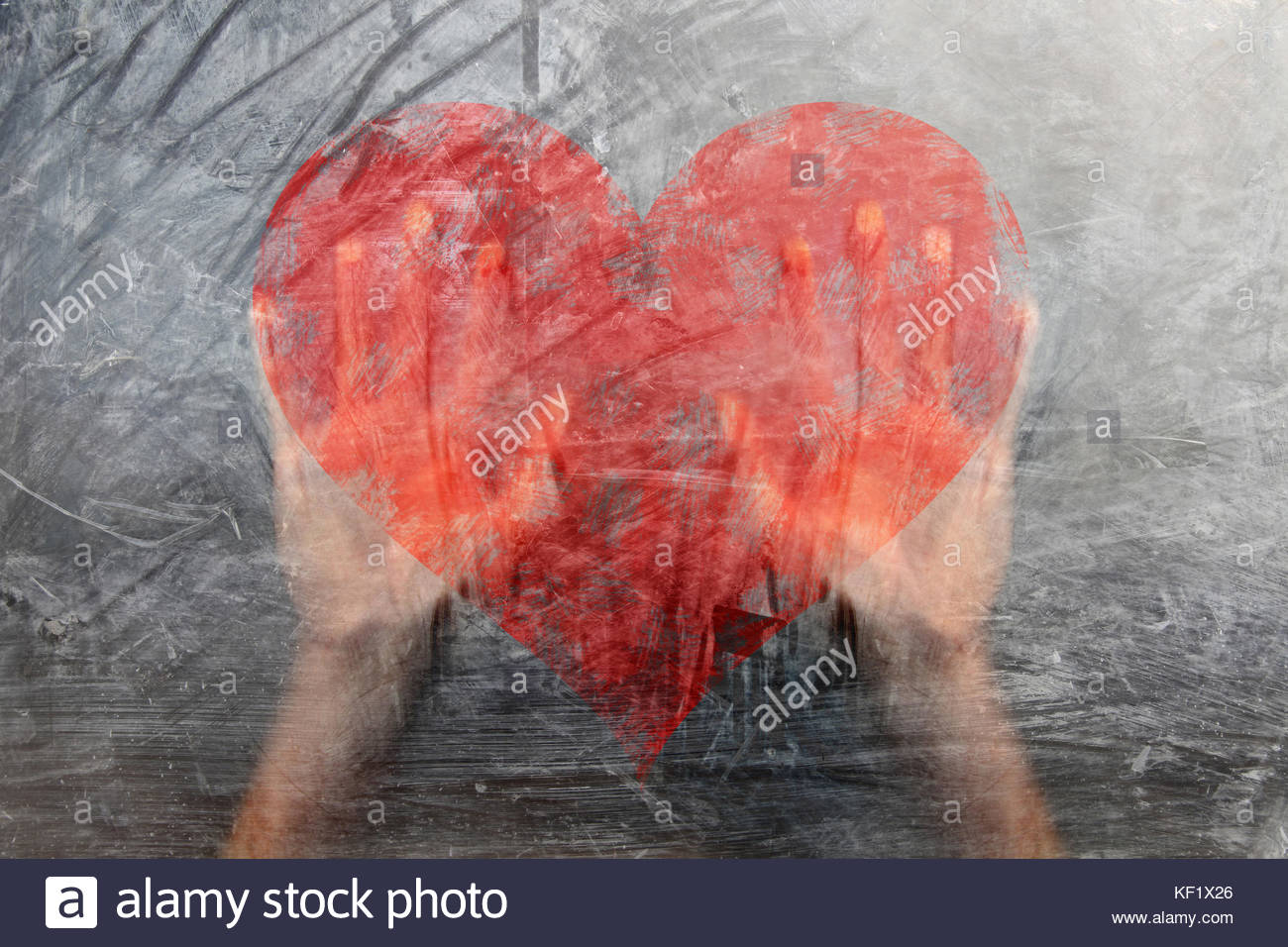 Person hands on grunge glass window with painted big red heart person hands on grunge glass window with painted big red heart symbol conceptual break up love background buycottarizona Image collections