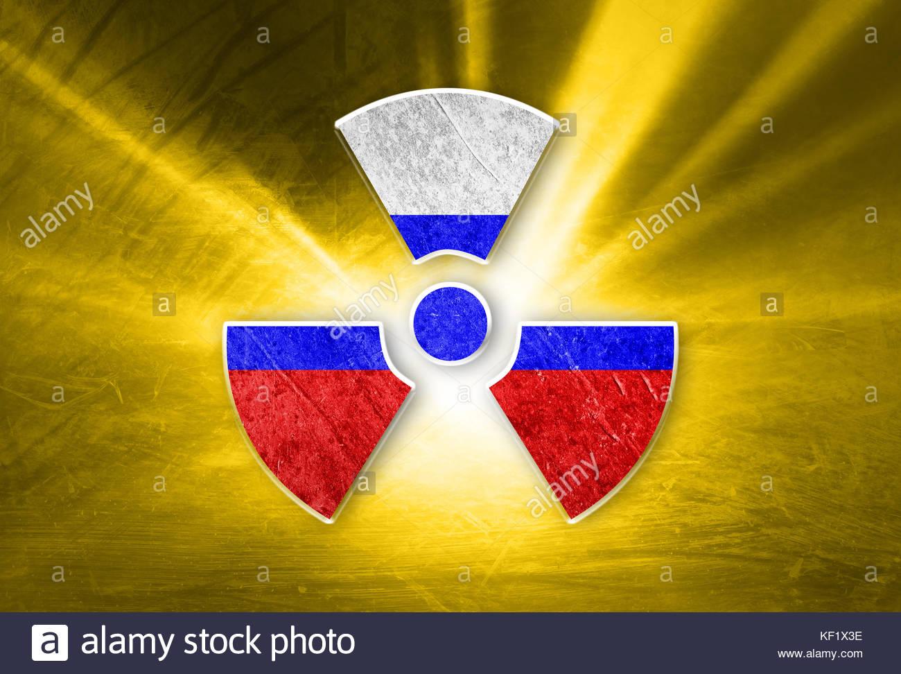 Conceptual shiny radioactive symbol with painted russian flag on conceptual shiny radioactive symbol with painted russian flag on the grunge yellow colored illustration background buycottarizona