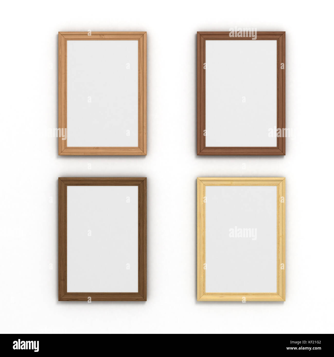 set of colorful vertical wooden frames of different sizes on a white ...