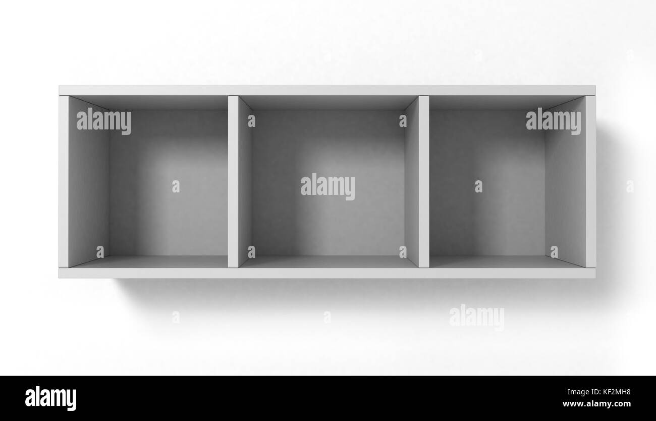 white hanging bookshelves with three sections isolated on white background - Hanging Bookshelves