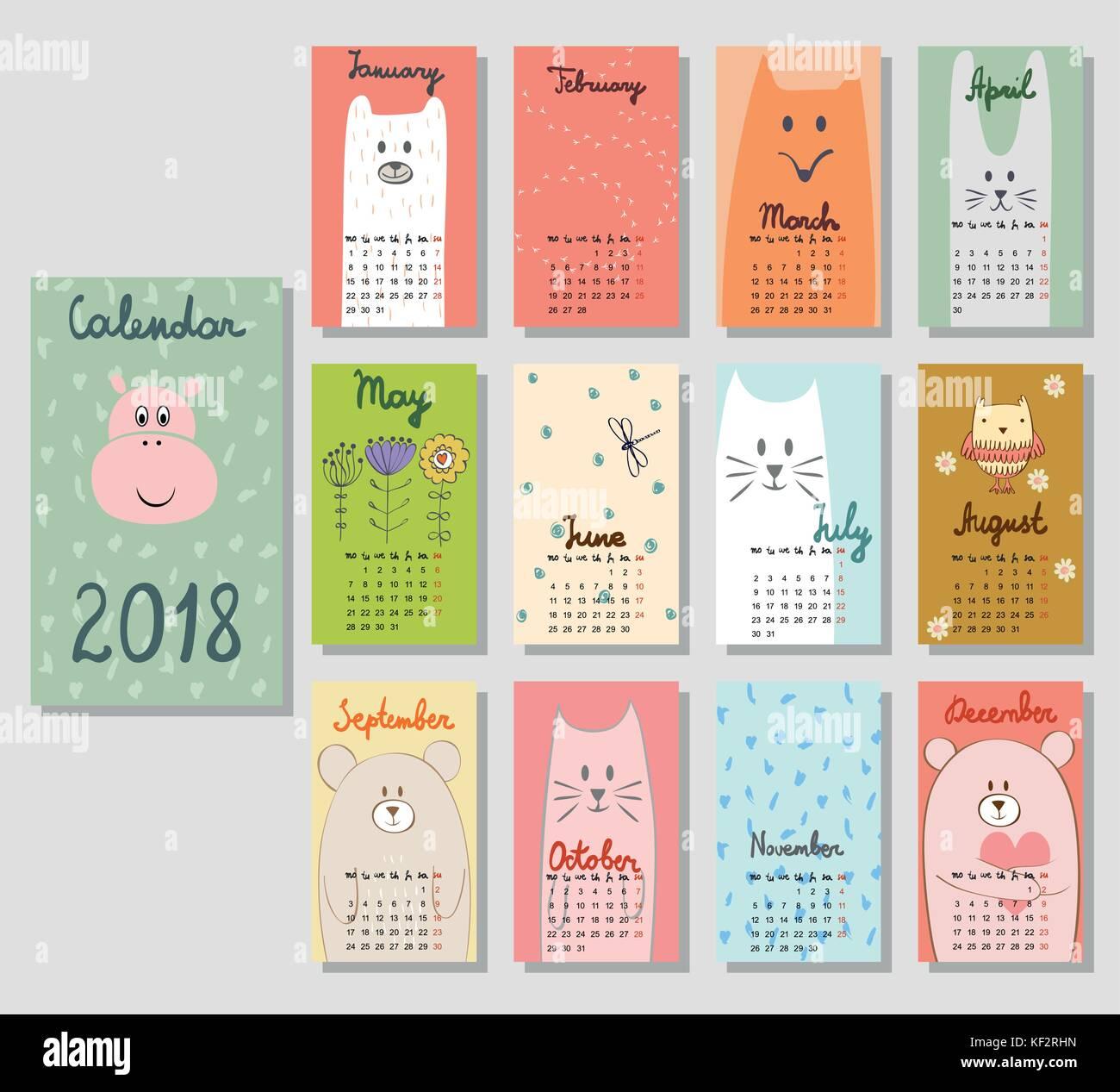 cute calendar 2018